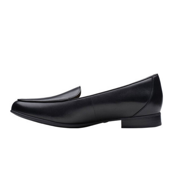 Women's Un Blush Ease Black Leather (Medium) By CLARKS