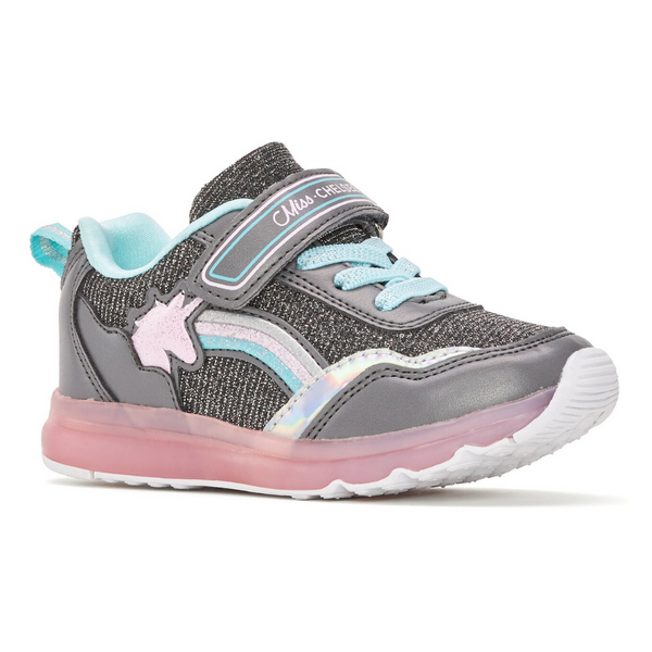 Girl's Light-Up Unicorn Sneaker in Grey