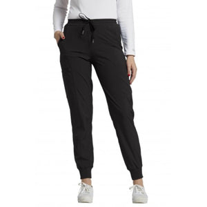 Women's White Cross Scrub Pant Jogger in Black