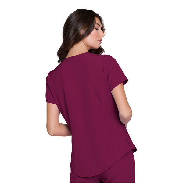 Women's HeartSoul V-Neck Scrub Top in Wine