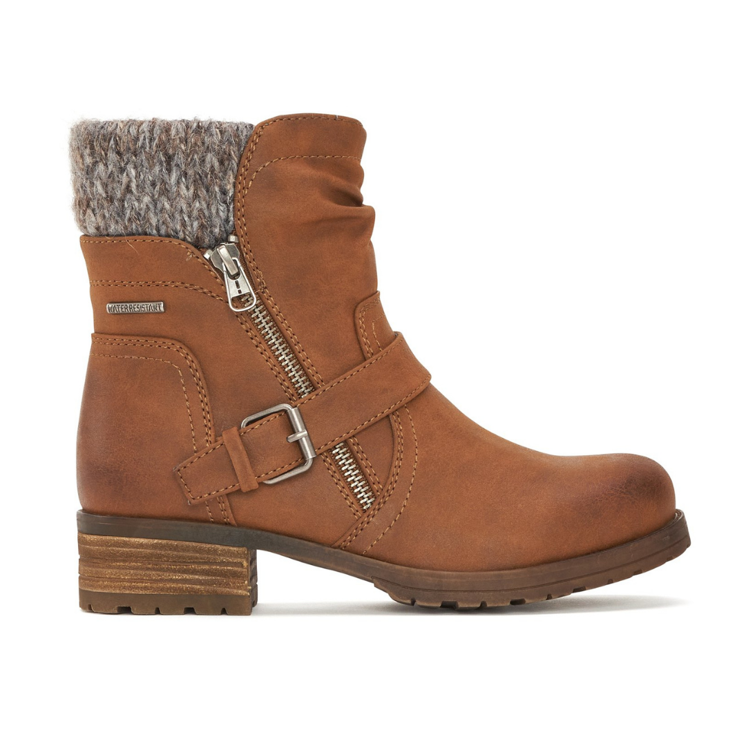 Women's Ankle Boot with Side Zip in Cognac