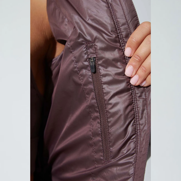 Women's Satin Brown Down Filled Recycled Polyester Puffer Jacket