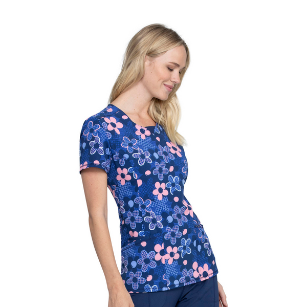 Women's Cherokee Infinity Round Neck Scrub Top – Actively In Bloom size 3XL