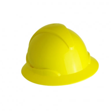 The Wave Wide Brim Yellow Hard Hat: CSA Type 2, Class E, Ratchet Suspension