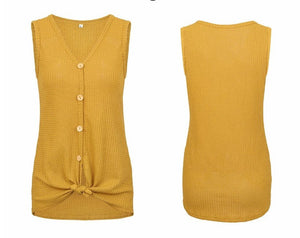 V Neck Casual Sleeveless Slim T-Shirt Cardigan with Tie Knot