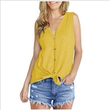 Load image into Gallery viewer, V Neck Casual Sleeveless Slim T-Shirt Cardigan with Tie Knot