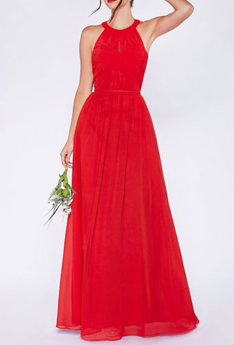 chiffon gown with gathered bodice and halter neckline.