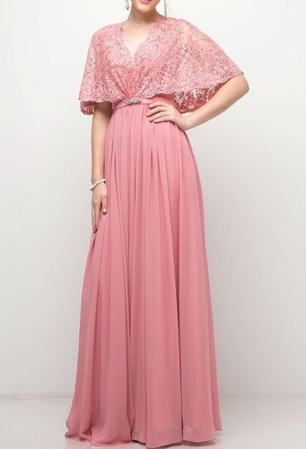 chiffon dress with lace cover up top and embellished belt.