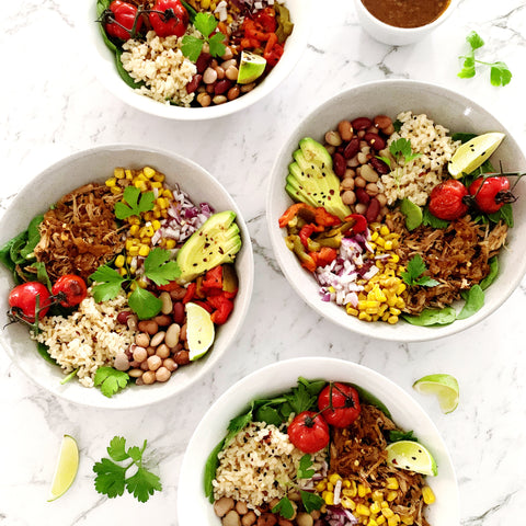 Mexican pulled pork burrito bowls