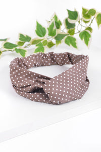 Criss Cross Tan Polka Dot Headband