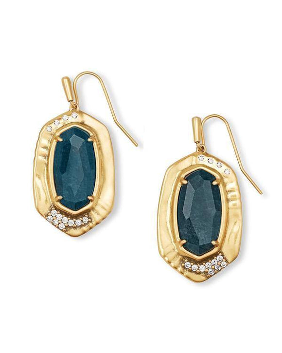 Anna Vintage Gold Drop Earrings In Teal Apatite