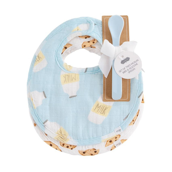 Blue Milk Muslin Bib & Spoon Set