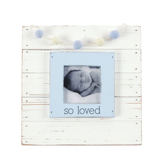 Blue So Loved Garland Picture Frame