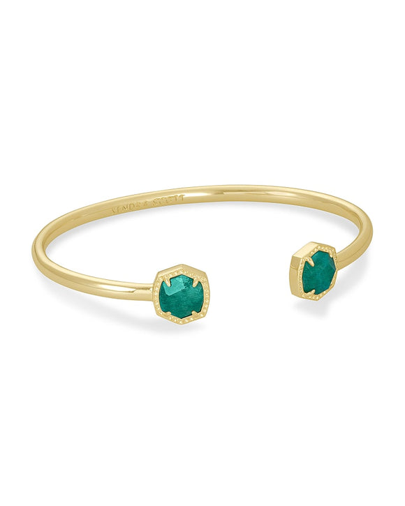 Davie Gold Cuff Bracelet In Dark Teal Amazonite