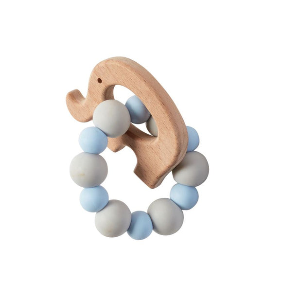 Elephant Wood Teether Blue