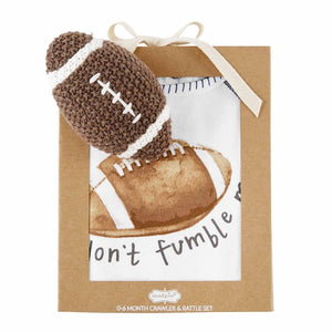 Football Knit Rattle Gift Set