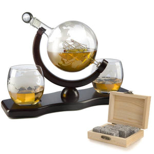 Globe Decanter w/ 2 Glasses and Whiskey Stones