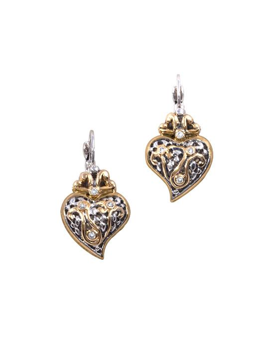 Viana Filigree Heart French Wire Lever Back Earrings