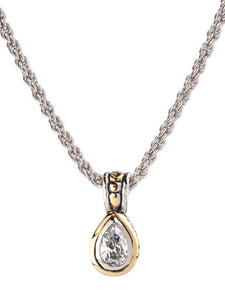 Beijos 9x6 mm CZ Pear Bezel Set Pendant Necklace
