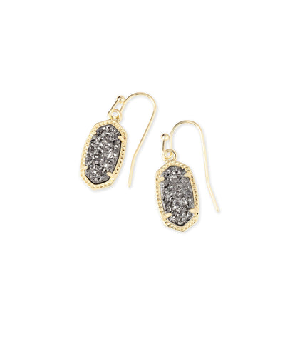 Lee Gold Drop Earring in Platinum Drusy