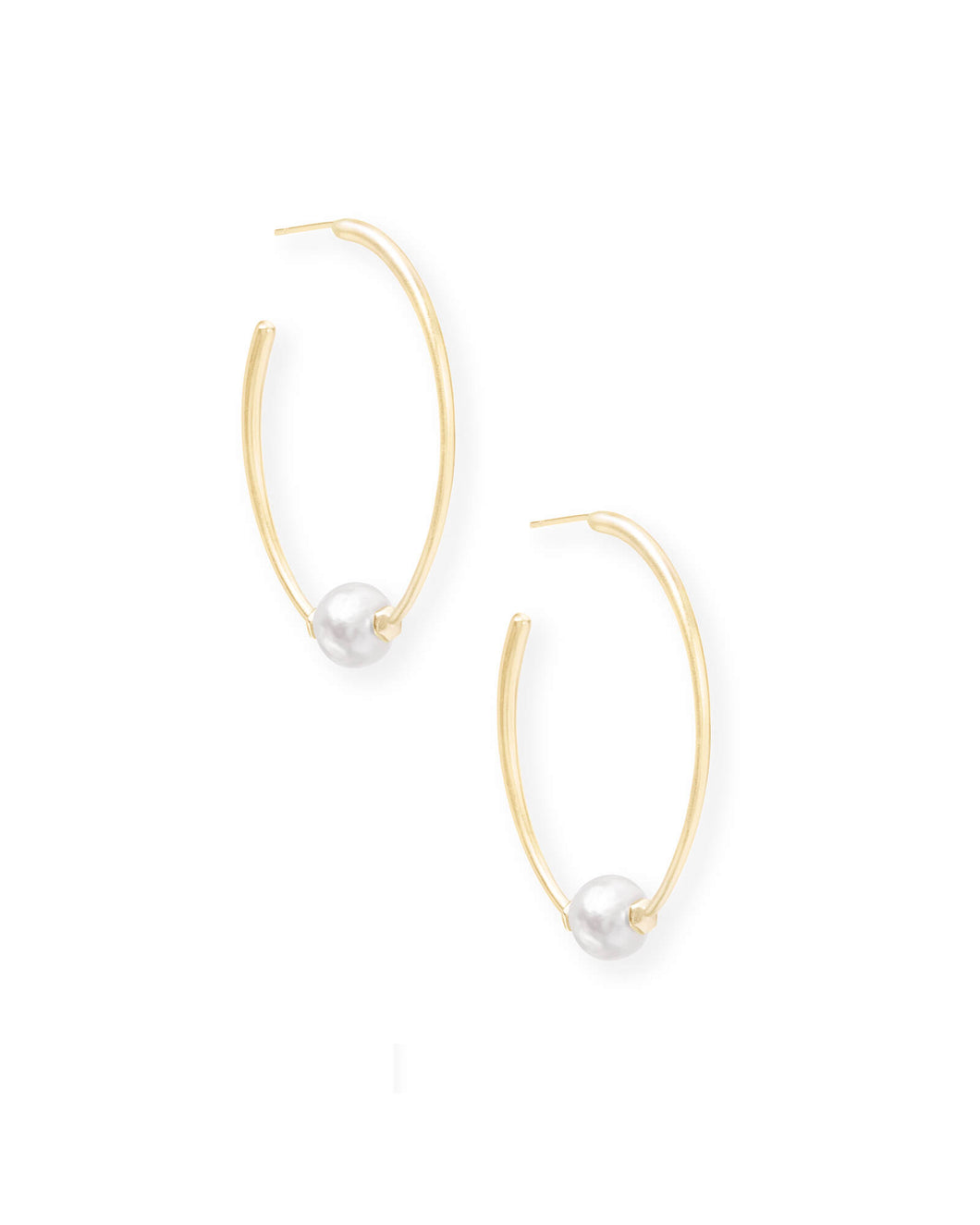 Regina Gold Hoop Earrings in Pearl