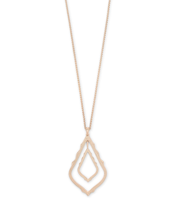 Simon Long Pendant Necklace in Rose Gold