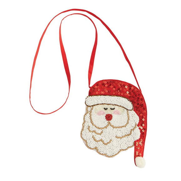Red Hat Santa Beaded Purse