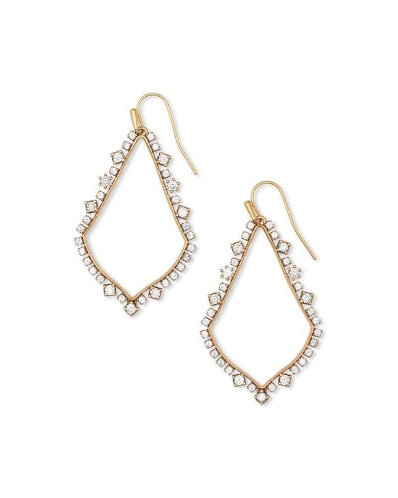 Sophee Crystal Drop Earrings In Vintage Gold