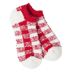 Cozy Low Red/White Check Socks