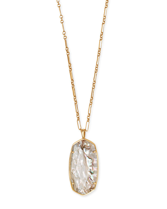 Faceted Reid Vintage Gold Long Pendant Necklace In White Abalone