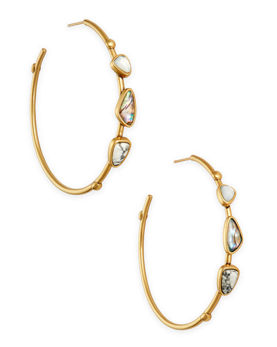 Ivy Vintage Gold Hoop Earrings In White Mix