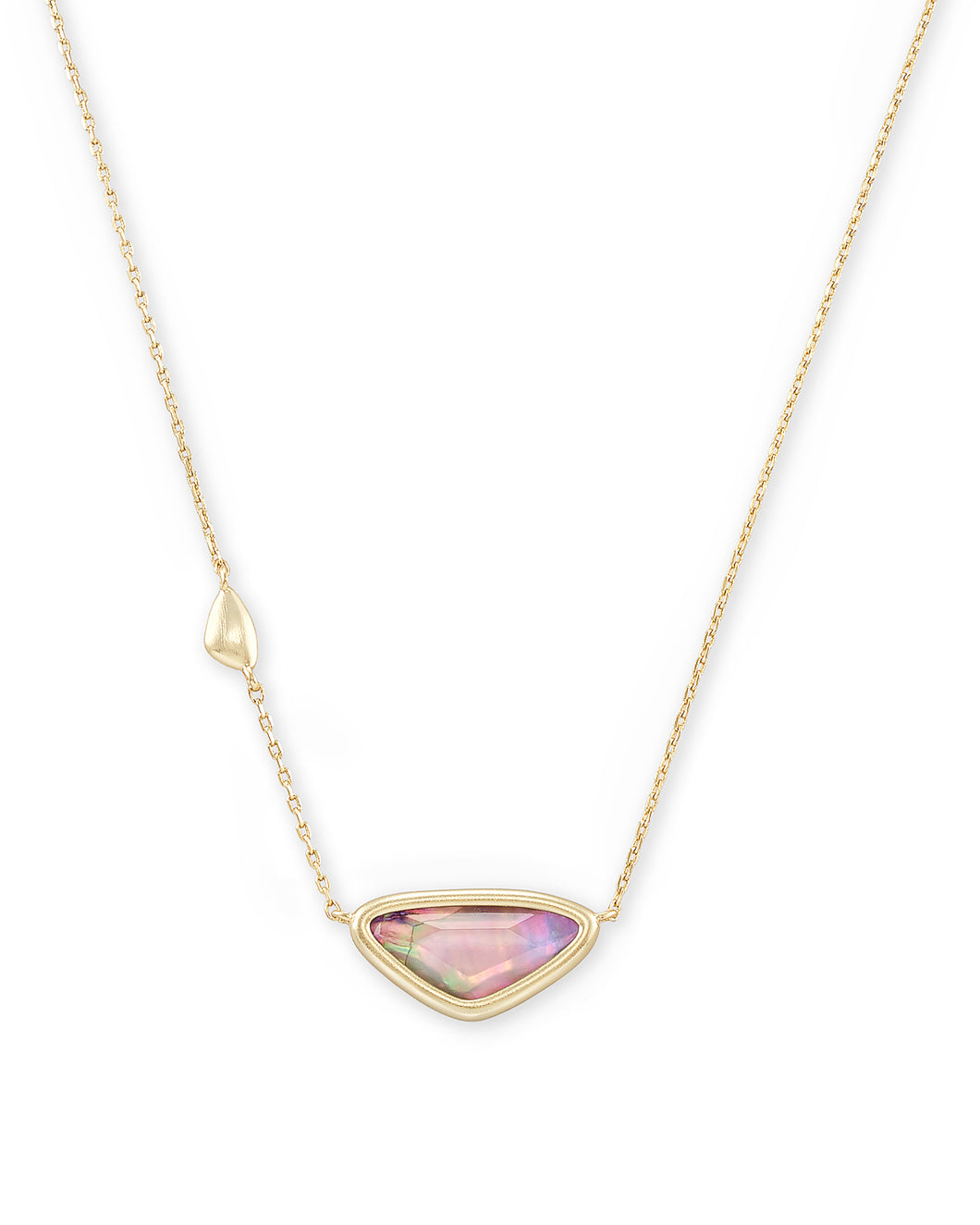 Margot Gold Pendant Necklace In Lilac Abalone