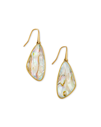 Mckenna Vintage Gold Small Drop Earrings In White Abalone