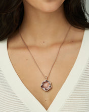 Load image into Gallery viewer, Vanessa Rose Gold Long Pendant Necklace in Peach Ombre