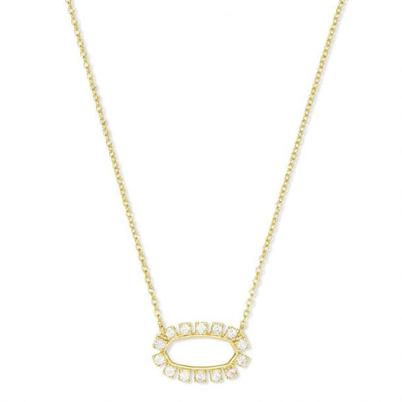 Elisa Gold Open Frame Crystal Pendant Necklace In Gold