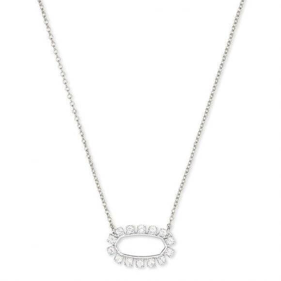 Elisa Open Frame Crystal Pendant Necklace In Silver