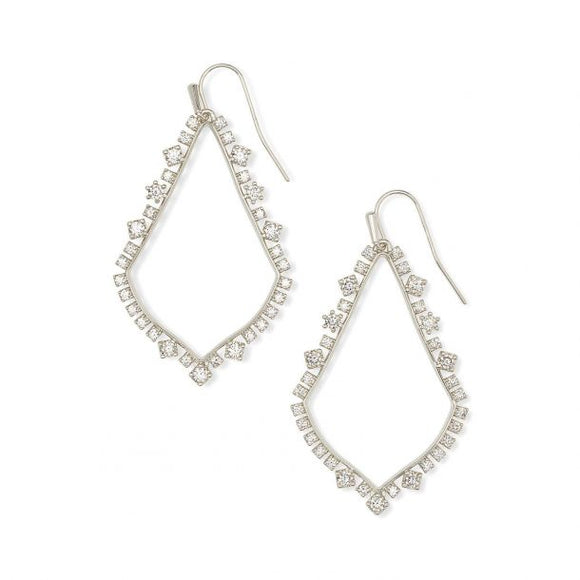 Sophee Crystal Drop Earrings In Silver