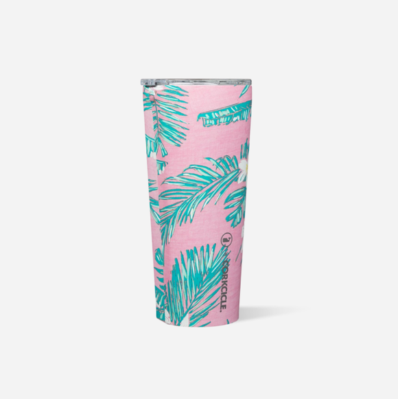 Vineyard Vines Pink Tropical Flowers 24 Oz Tumbler
