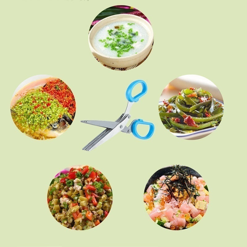 15CMMinced 5 Layers Basil Rosemary Kitchen Multi-Layers scissor Shredded Chopped Scallion Cutter Herb Laver Spices Cook Tool Cut
