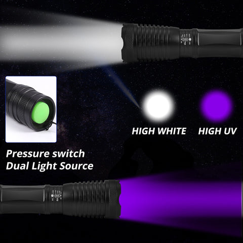 2 in 1 UV Flashlight LED Linternas Torch 395nm Ultraviolet Urine Detector Light for camping Carpet Pet Urine Catch Scorpions