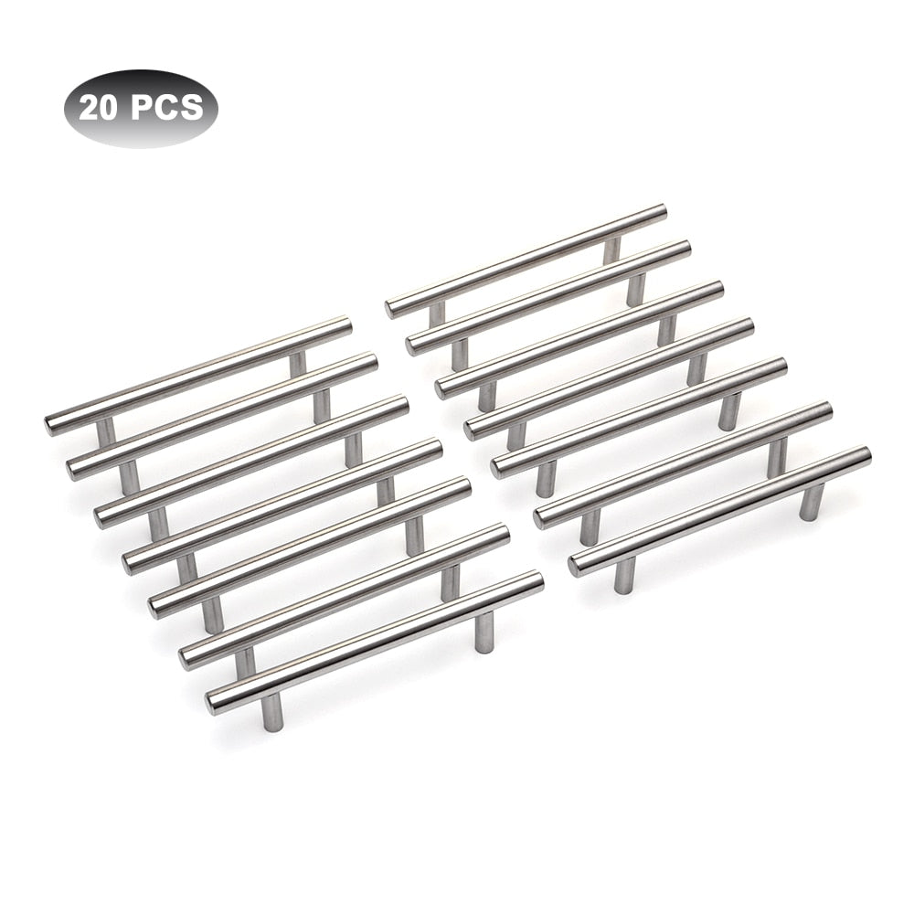 20Pcs Modern Furniture Handles Kitchen Cabinet T Pulls Handles knobs Stainless Steel Handles For Furniture
