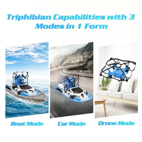 Toys 3 In 1 RC Drone Boat Car Water Ground Air Mode