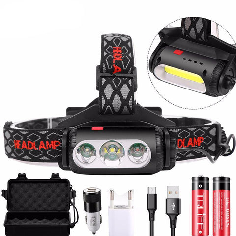 3000Lms USB Rechargeable LED Headlamp Rotatable lamp holder 8 Light Mode LED COB Super Bright Headlights Waterproof use 2*18650