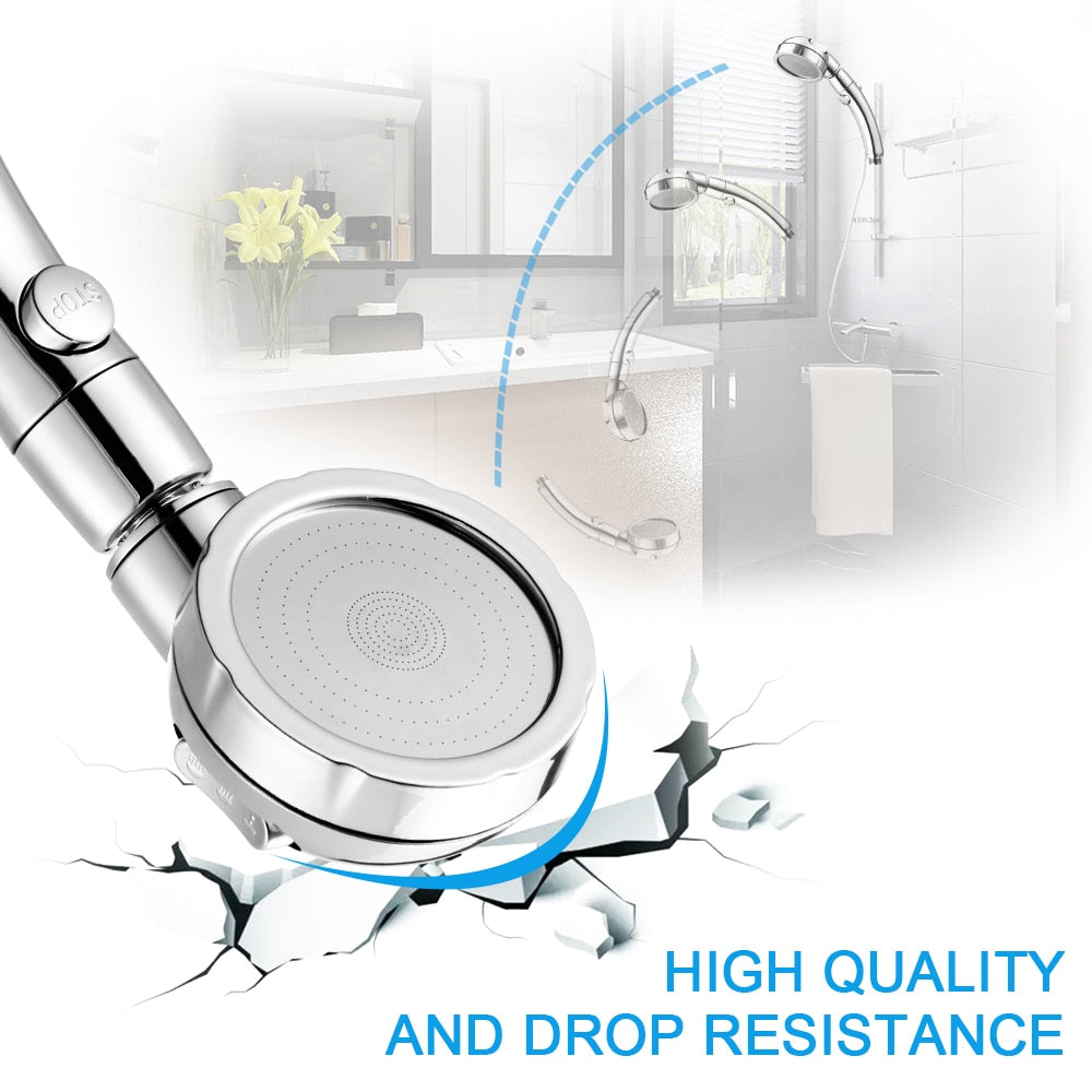 360 Degrees Rotating Adjustable Water Saving Shower Head 3Mode Shower Water Pressure With Water Control Button bathroom set