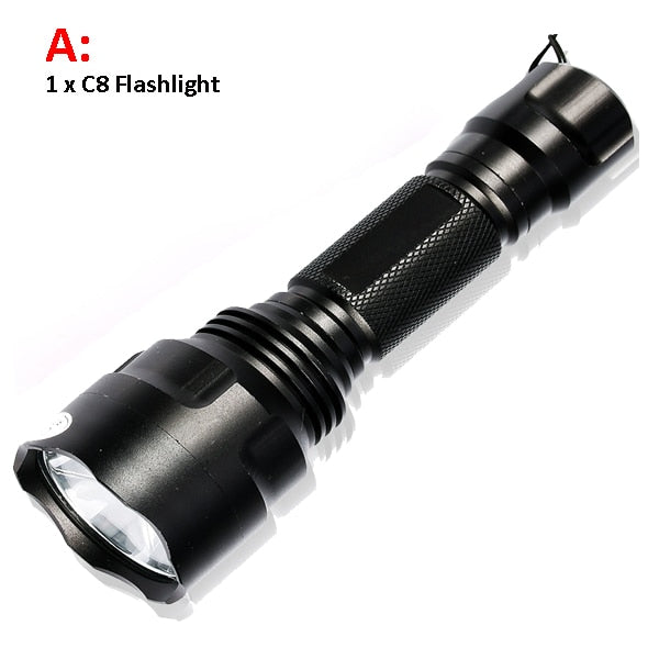 6000lumens 1 mode C8 LED Flashlight 5Modes Tactical Flashlights T6/L2 Torch Waterproof Flash Light By 18650 Rechargeable battery