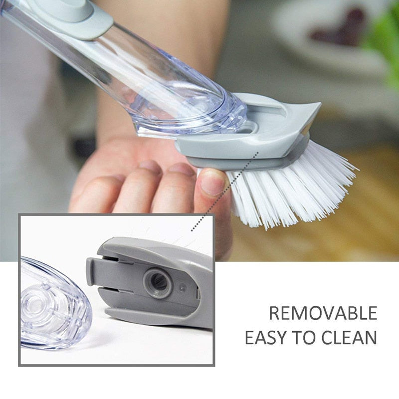 Automatic liquid addition sponge dishwashing brush long handle wash brush artifact non-stick oil kitchen brush cleaning CF-70
