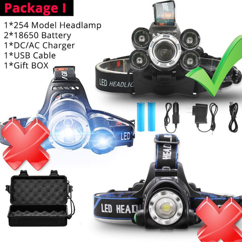 Brighest Headlamp Led Headlight XML 3/5 LED T6 Head Lamp Flashlight Torch head light use 18650 battery Best For Camping, fishing
