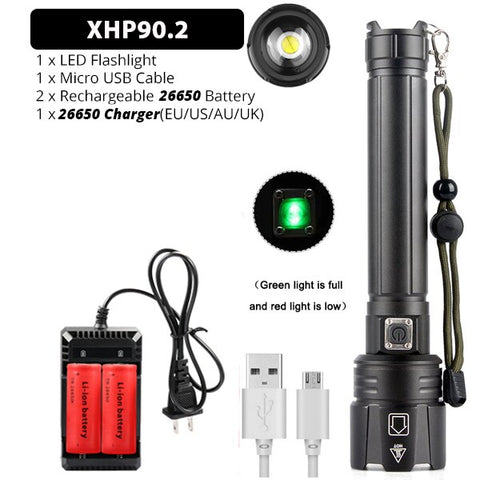 Brightest XHP70.2 XHP90 Rechargeable LED Flashlight Powerful Torch Super Waterproof Zoom Hunting Light Use 18650 or 26650 Battey
