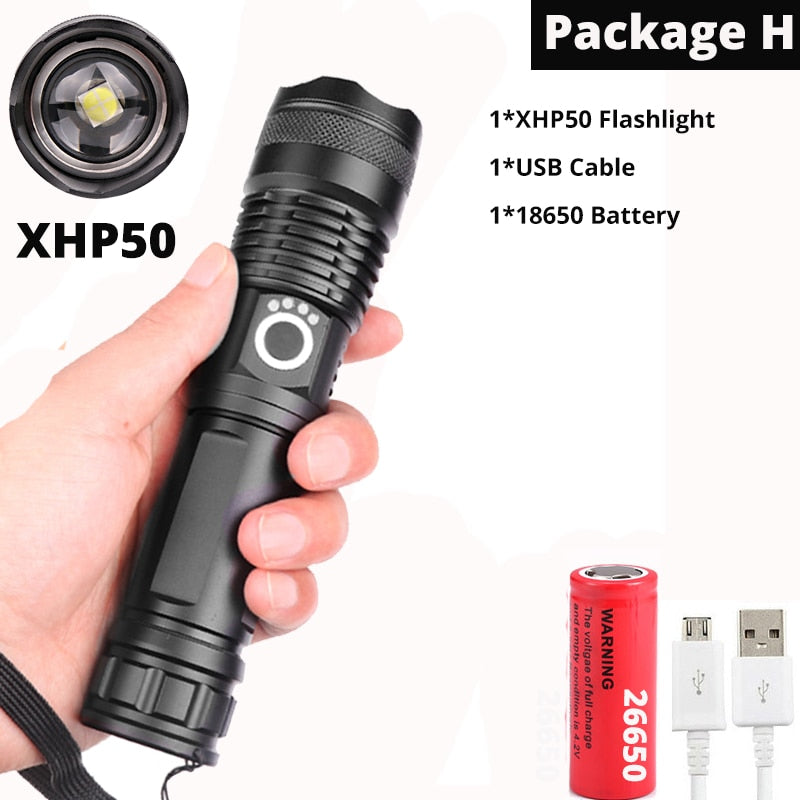 Brightest xhp70.2 High powerful rechargeable LED Flashlight XHP90 lanterna Tactical Light 18650 or 26650 Camping Hunting Lamp