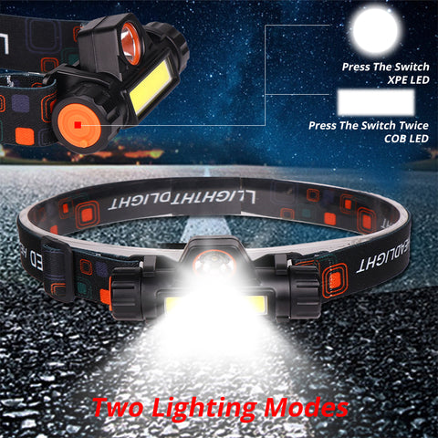 Built-in 18650 LED Headlight Outdoor camping Portable Q5+COB with magnet LED Headlamp USB charging Fishing headlights flashlight